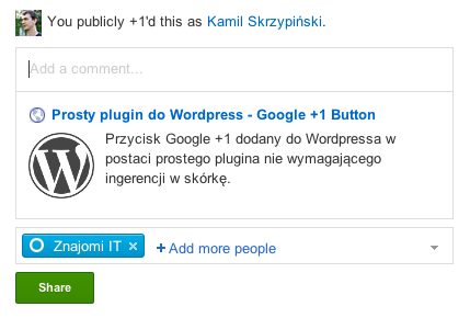Google Plus One Button - share with description from WP